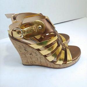 Via Spiga metallic cork wedge heels
